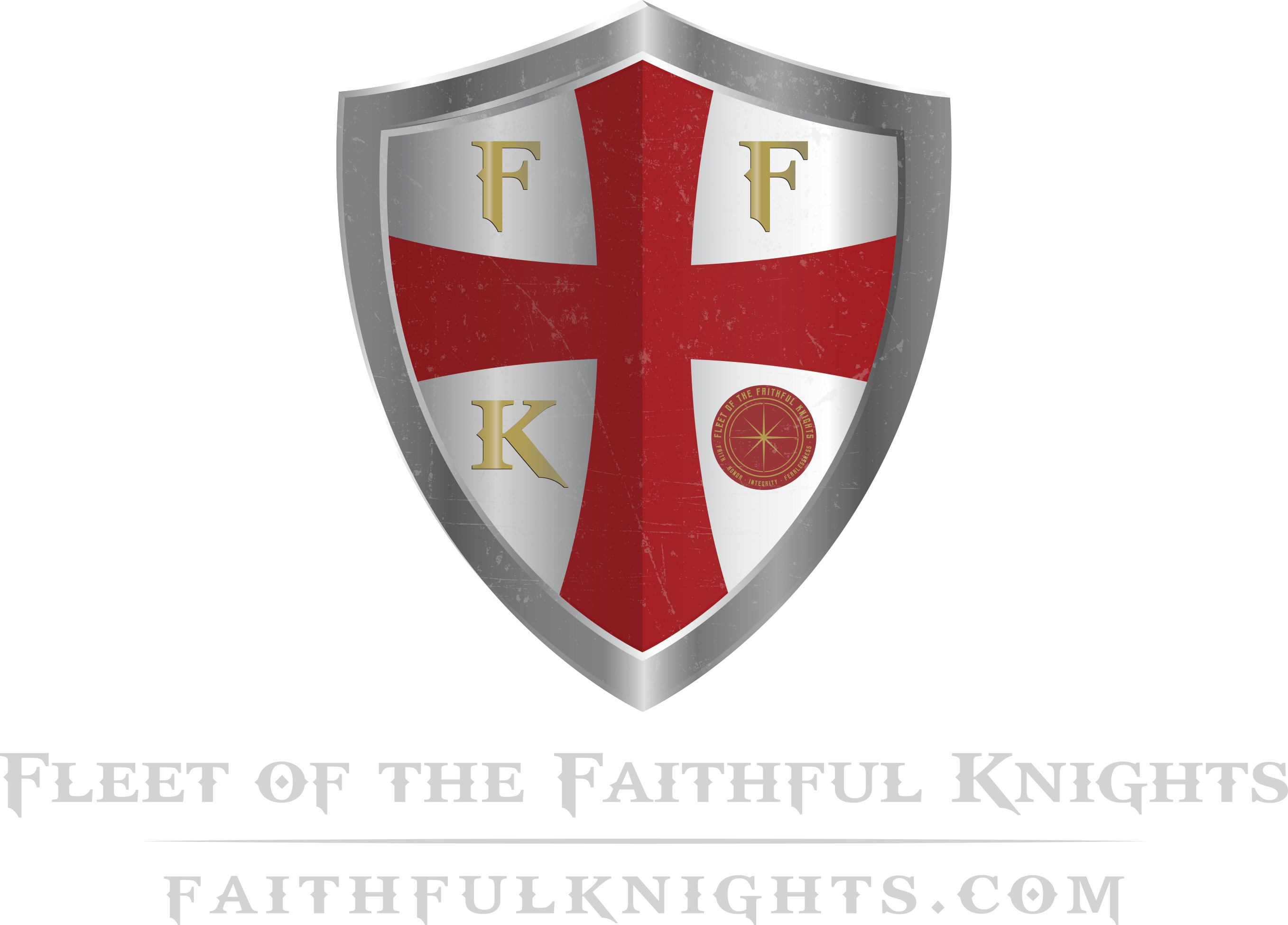 Large fleet of the faithful knights logo final white text