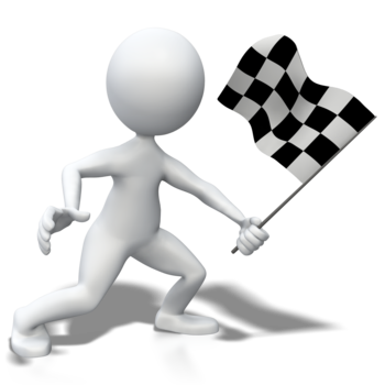 Large stick figure holding checkered flag 400 clr 3917