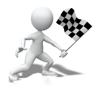 Stick figure holding checkered flag 400 clr 3917
